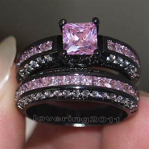 victoria wieck brand design pink sapphire simulated With black and pink wedding ring sets