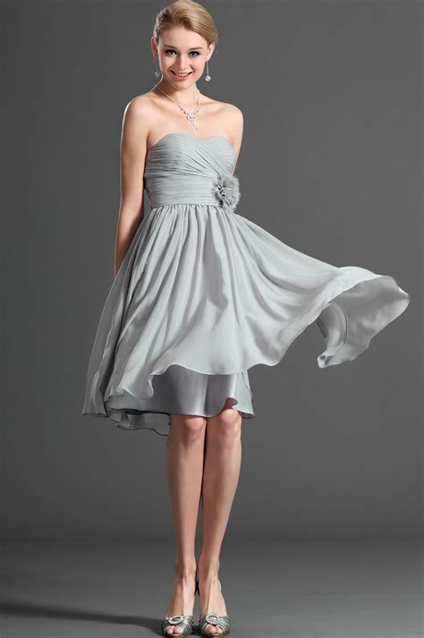 Silver Strapless Cocktail Dress Pictures, Photos, and