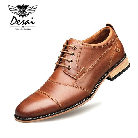 Spring New Men Business Dress Shoes Genuine Leather