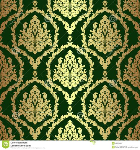 Golden Rich Floral Damask Wallpaper On Green Stock Vector