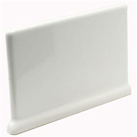 cove base ceramic tile u s ceramic tile bright snow white 4 in x 6 in ceramic cove base left right corner wall tile
