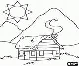 Cabin Coloring Mountain Log Cabins Sketch Printable Template Woods Para Sketches Houses Wooden Bergen Colorir Cabana Casa sketch template