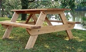 Comment Fabriquer Une Table De Ferme En Bois : comment faire une table de picnic en bois table de lit ~ Louise-bijoux.com Idées de Décoration