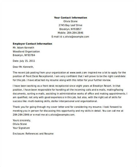 receptionist job application letters  word