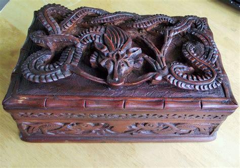 antique carved wooden dragon secret lock box antiques
