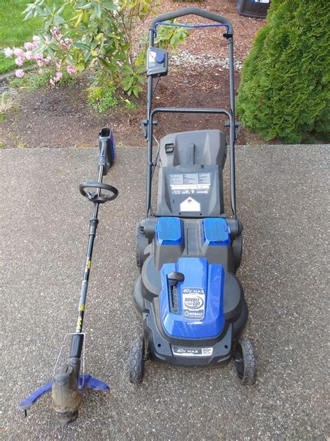 A battery powered weed eater takes away the frustration of keeping a gas powered weed whacker running. Kobalt battery powered lawn mower and weed eater - no batteries for Sale in Puyallup, WA - OfferUp