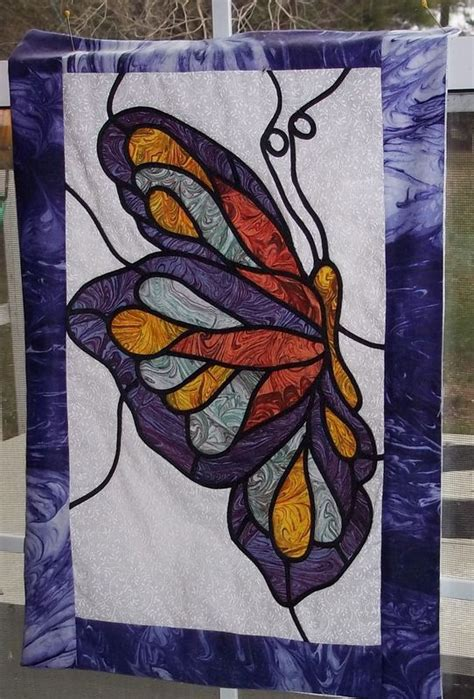 butterfly quilt        stained glass