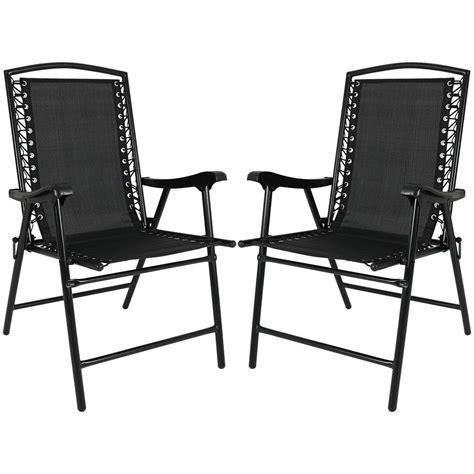 Lawn Chair Set by Sunnydaze Decor Black Sling Folding Lawn Chairs Set