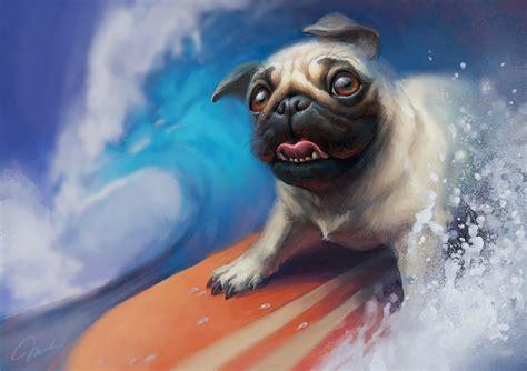 surfing pug by magdaproski on deviantart
