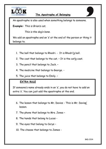 the apostrophe of possession literacy worksheet by benkdavies teaching resources tes