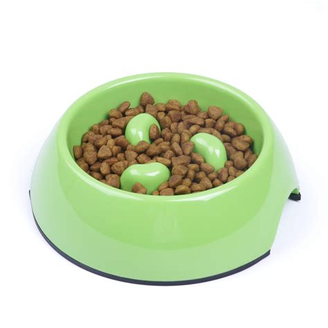 pet dogs cats melamine feeding food bowl  skid slow
