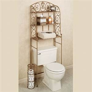 Aldabella satin gold bathroom space saver for Space savers for bathroom