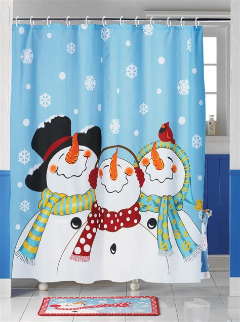 frosty friends snowman snowflakes shower curtain