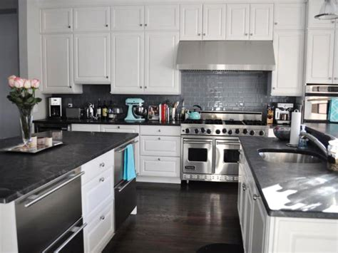 kitchen with white cabinets and black countertops marble kitchen countertop options hgtv