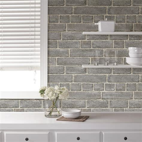 NuWallpaper Grey Brick Facade Peel and Stick Wallpaper
