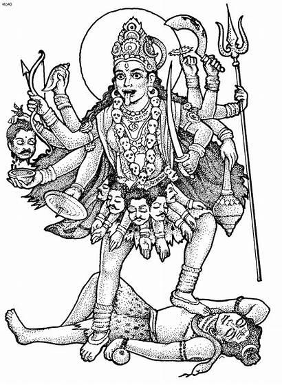 Kali Hindu Coloring Goddess Sketch Mahakali God