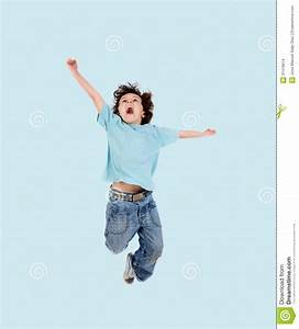 Adorable child jumping stock photo. Image of color ...