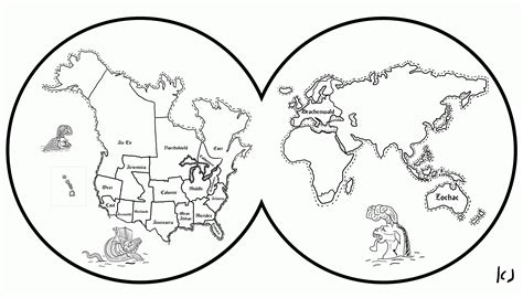 World Map Coloring Page For Kids