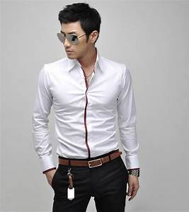 Mens Sexy Long Sleeve Shirt Slim Fit Dress Shirt Formal ...