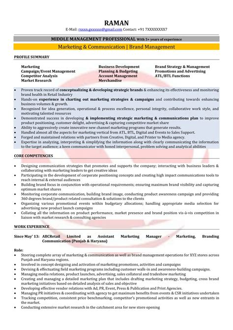 Brand Marketing Manager Resume Format by Marketing Manager Sle Resumes Resume Format