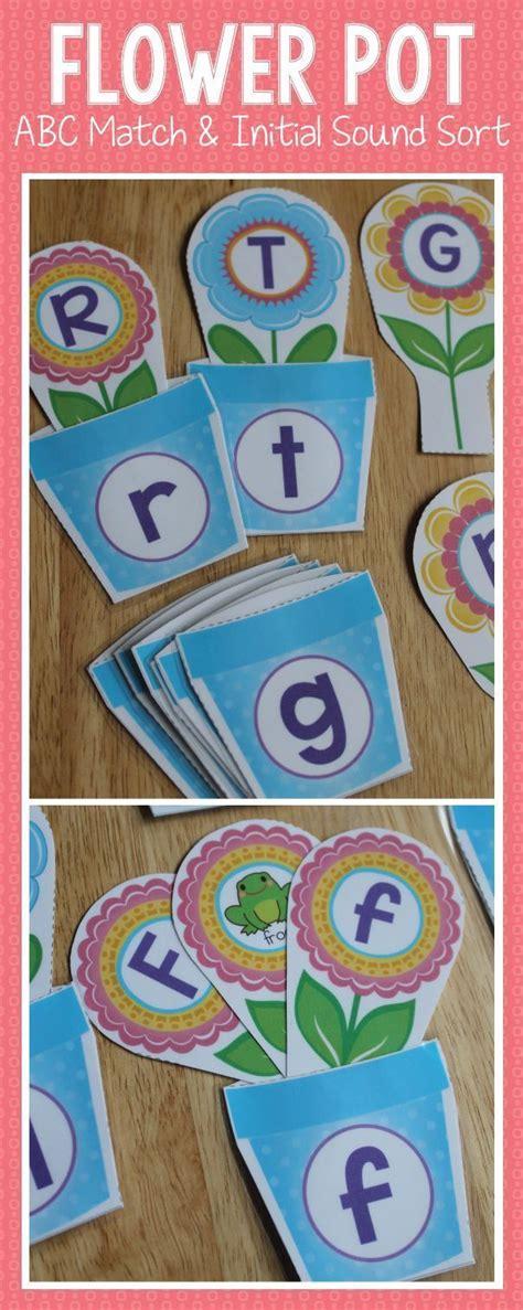 flower pot alphabet and beginning sound matching activity elementary education preschool