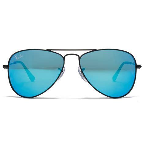 blue glasses ray ban junior aviator sunglasses in matte black blue mirror rj9506 201 55 50