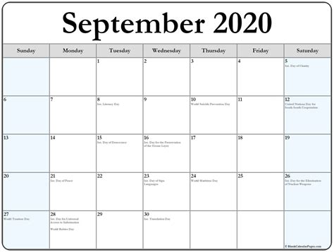 september  calendar  holidays