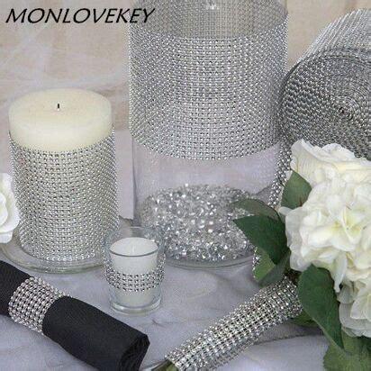 wedding decor silver diamond mesh  feetcm party