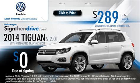 New 2014 Volkswagen Tiguan Low Payment Lease Specials