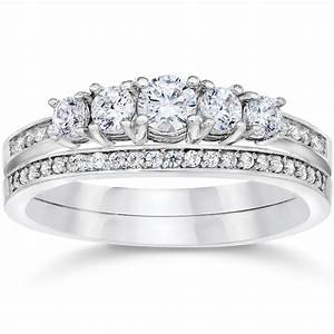 5 8 carat vintage real diamond engagement wedding ring set for Diamond wedding ring settings