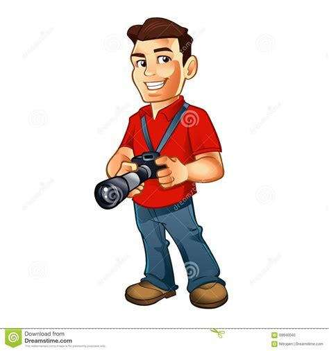 Photographer Cartoon With Camera Stock Illustration