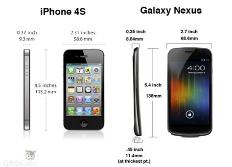 iphone 4s weight iphone 4s vs galaxy nexus how the specs compare