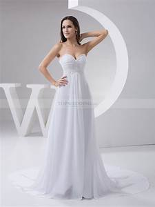 Beaded and pleated strapless chiffon bridal dress for Chiffon wedding dress