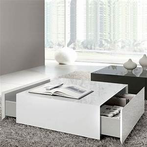 box square coffee table with 2 drawers white high gloss With white square coffee table with drawers