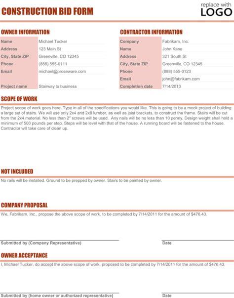 bid free construction template 4 best sle