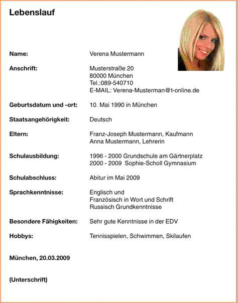 Lebenslauf Schüler by Sch 252 Ler Bewerbung Vorlage Angenehme 8 Tabellarischer