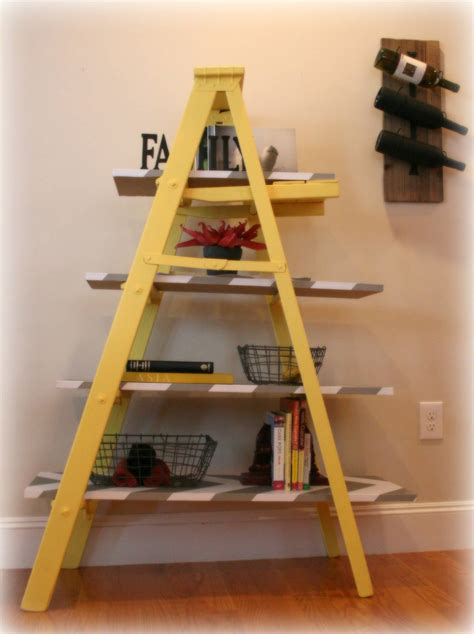vintage yellow wooden leaning ladder shelf build