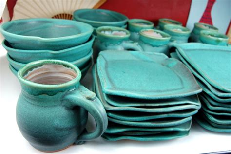 turquoise dinnerware set   peacock garden electroplated turquoise  piece dinnerware