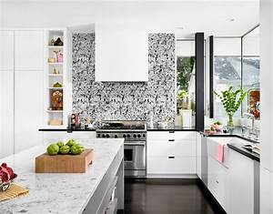 Contemporary black and white wallpaper kitchen ...