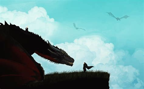 jon snow meets dragon minimal hd wallpaper