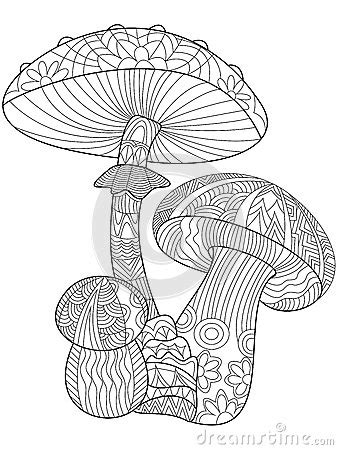mushroom coloring vector  adults stock vector image