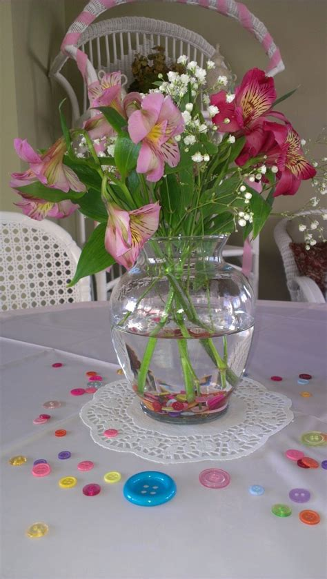 baby shower vases as a button baby shower table scape tablescape