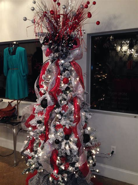 black red  silver christmas tree christmas