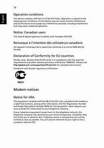 Modem Notices  Operation Conditions  Notice  Canadian