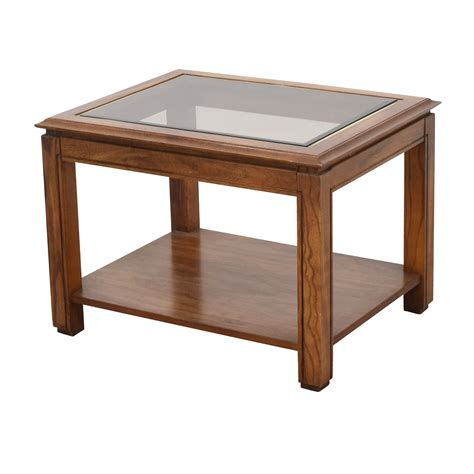 88% Off  Walnut And Glass Rectangular Coffee Table Tables