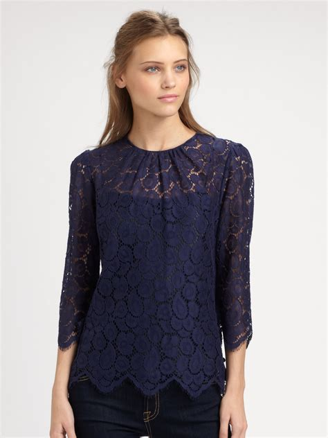 blue blouses milly lace blouse in blue lyst