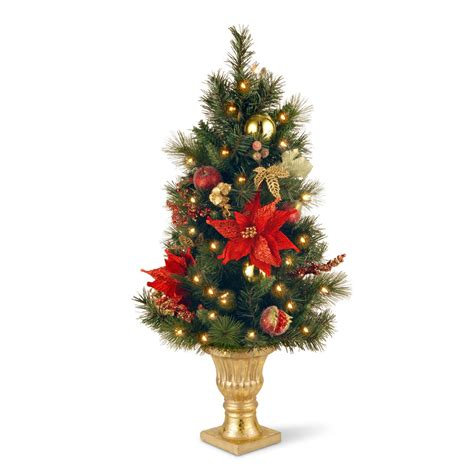 decorated red poinsettia slim pre lit christmas tree