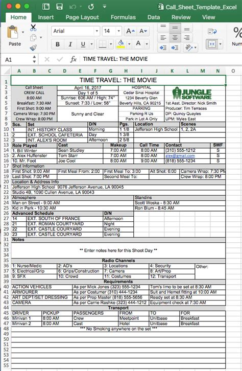 Call Sheet Template Free Call Sheet Template In Excel