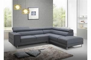 Changer Tissu Canapé : canap d 39 angle droit gris en tissu bartolo canap d 39 angle pas cher ~ Nature-et-papiers.com Idées de Décoration