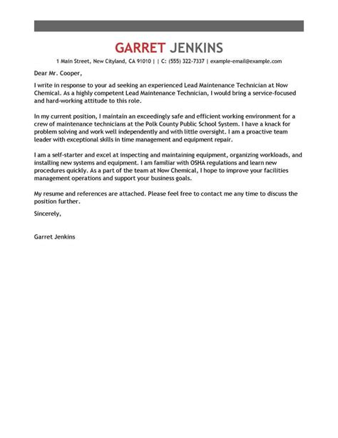 Maintenance Cover Letter Exles by Best Facility Lead Maintenance Cover Letter Exles